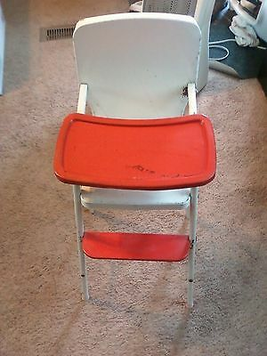 Vintage Red Cosco Doll-E-Hichair Baby Doll Tin Metal High Chair