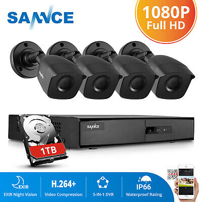 SANNCE 5in1 1TB 8CH 1080P HDMI DVR 1500TVL IR Security Camera System Email Alert