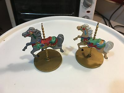 1989 Hallmark lot 2 Christmas CAROUSEL HORSE  Holly and Ginger ornaments