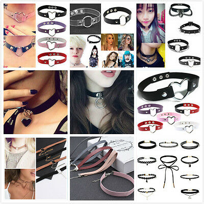 Goth Trendy Punk Heart Ring Leather Rivet Collar Choker Funky Favorite Necklace