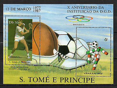 Sao Tomé and Principe : 1987 10th. Anniv. INSTITUTE FOR SPORTS Minisheet ( MNH)