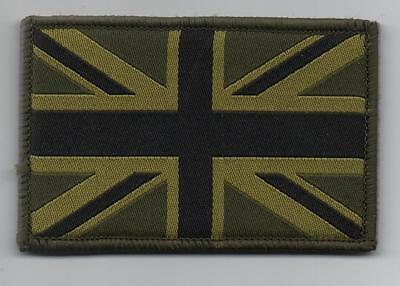 Union Jack Patch MTP Style Badge TRF Military Army Subdued Green Sleeve Velcro