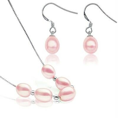 Stylish! Genuine Freshwater Cultured Pink Pearl Necklace & Earring Set 100% .925