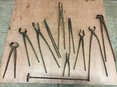11X Vintage Antique Blacksmith Wrought Iron Forge Anvil Tools Tongs