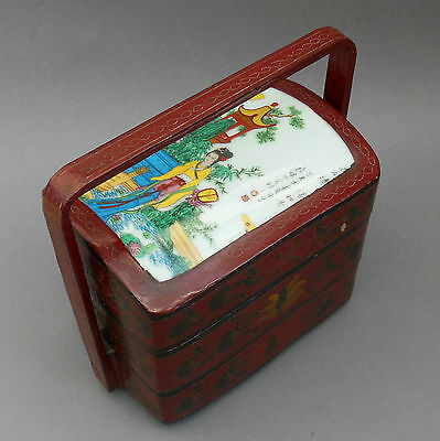 Vintage Chinese Wedding Basket ~ Red Lacquer & Porcelain ~ Stacking Dowry Box