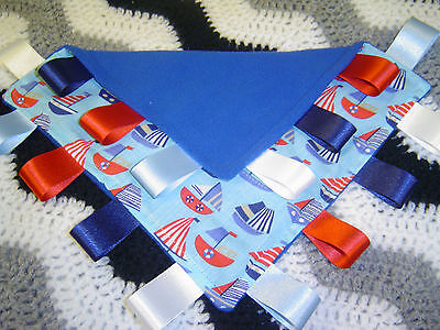 Royal Fleece with Boats Taggy/Comforter Personalised