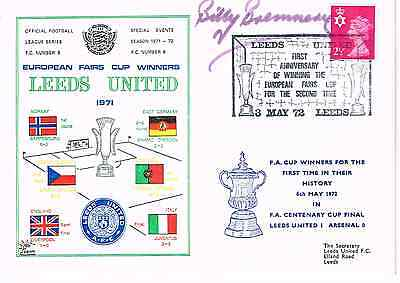 Billy Bremner Signed First Day Cover Fdc 1971 Fairs Cup Leeds United Autograph