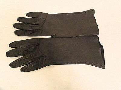 Womens Used Dark Chestnut Gray Leather Gloves Sz 6 SMALL