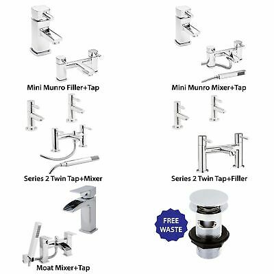 Chrome Bathroom Mini Munro and Series 2 Bath Basin Tap Sets + Free Waste