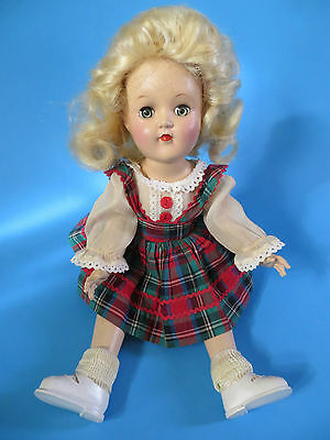 All ORIGINAL PlasticToni Doll by Ideal Blonde Plaid Dress Tag 50's Nice!