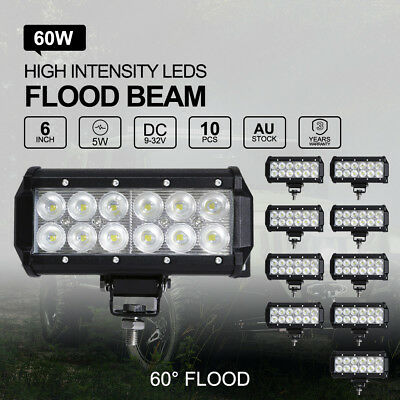 10x 7 inch 60W CREE LED Light Bar Flood Offroad 4WD UTE Boat Reverse Work Lamp