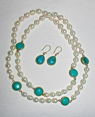 A Baroque Pearl and Turquoise Necklace and Earring Set