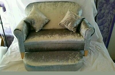 Crush velvet upholstered bespoke 2 seater sofa and stool duvet and scatters