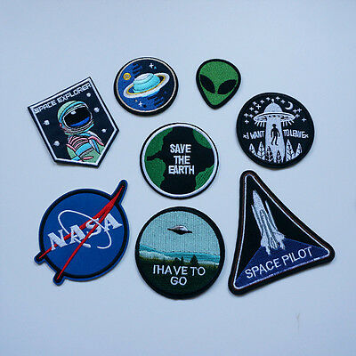 Embroidery Planet Alien UFO NASA Sew Iron On Patch Badge Bag Hat Jeans Applique