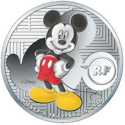 10 Euro Silber Proof Micky Maus Mickey Mouse Frankreich 2016 France