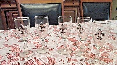 Wine Glasses Metal Fleur de lis on 5 Each No Issues