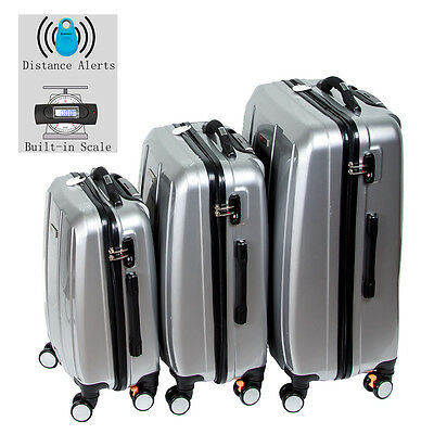 Discovery Smart Luggage with Built-in Scale & 100m Chip Tracker- 3 Piece-Silver