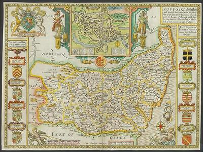 "c1615 ""SUFFOLK"" (Suffolke) Original Antique Map by John Speed - Humble Edition"