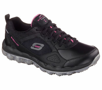 76572 Skechers Women's SKECH-AIR Slip Resistant Work BKPK  Black/Pink