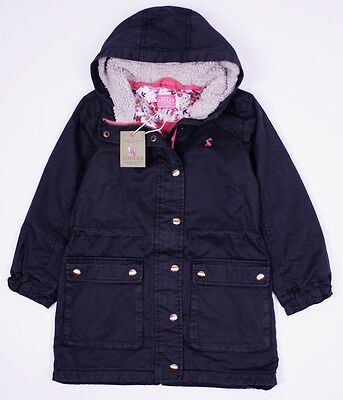 BNWT Joules - Girls Navy WYNTER Fleece Hooded Parka Coat    Jacket