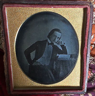 Handsome Young Man Nice Pose w/ Woman's Picture in Open Book 1840s Daguerreotype
