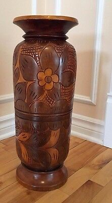 Hand Made Carved Decorative Vase In Solid Wood From Haiti 1980's One Of A Kind