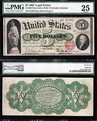 VERY NICE *RARE* Bold VF 1863 $5 GREENBACK Legal Tender Note! PMG 25! 21401