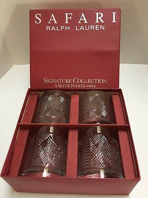 "Set Of 4 Ralph Lauren Safari Signature Collection Whiskey Glasses In Box 4"" Tall"