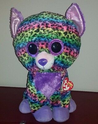 """Ty Beanie Boos Trixie Jumbo 17"""" Leopard~Justice Exclusive~2015~Nwt~Nice Gift"""