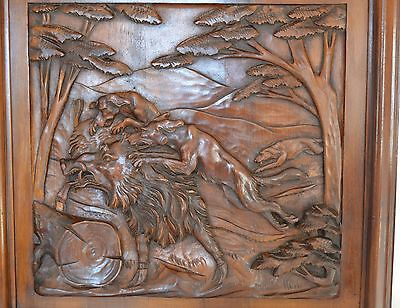 French Antique Hand Carved Wood Wall Panel Hunting Hound Dogs Wild Boar