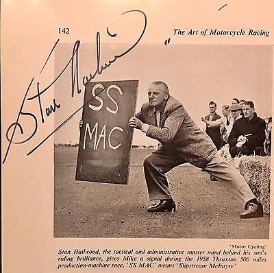 Stan Hailwood , Motor Racing  Driver / Father Of Mike Hailwood . Rare Autograph