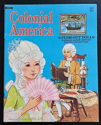 COLONIAL AMERICA Paper Doll Book, 1974, Uncut, 7 Pges of Clothes