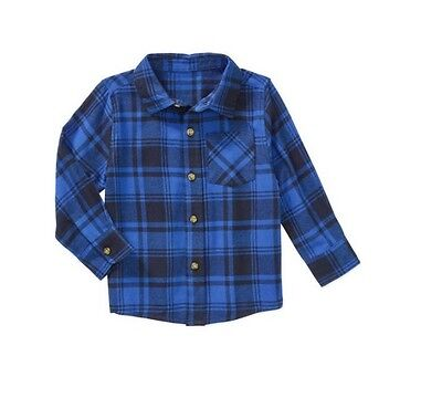 Healthtex Baby Toddler Boy Long Sleeve Flannel Shirt, 5T, Blue/Black