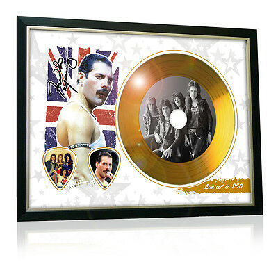 Freddie Mercury Queen Flag Style Signed Gold Disc Display