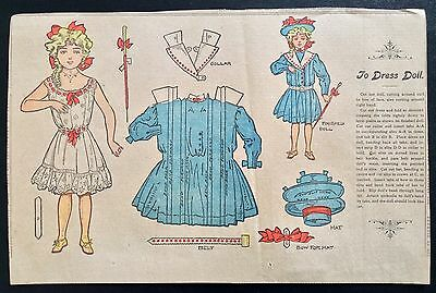 Antique Doll Dressing Boston Sunday Globe Paper Dolls, 1907, Uncut, Hard To Find