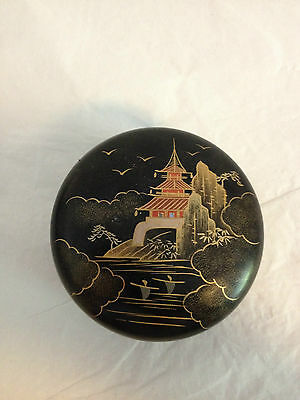 Black Lacquer Box and Coasters Mt. Fuji Japan (Only 3 Coasters)