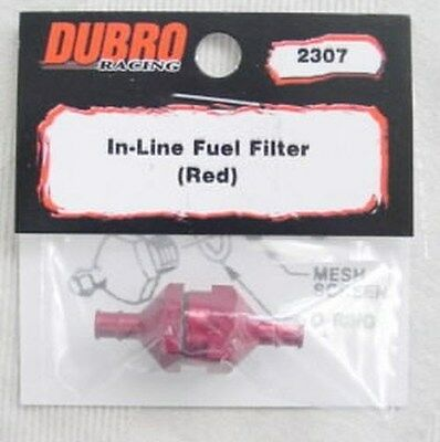 """Dubro Red Aluminum In-Line Fuel Filter DUB2307 Fits Standard 3/32"""" ID Fuel Line"""