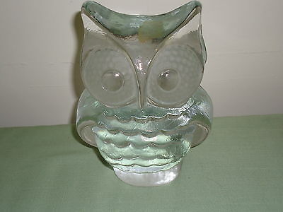 """Old Owl Viking Hand Made Clear Solid Glass Paperweight Or Bookend 6 """" Lot2"""