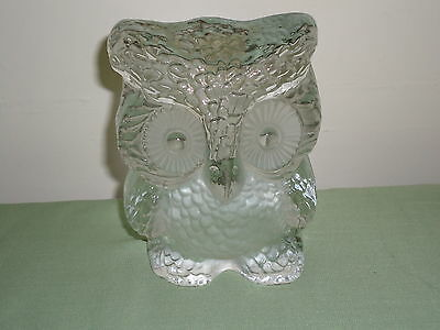 """Old Owl Viking Hand Made Clear Solid Glass Paperweight Or Bookend 5 ½ """" Lot1"""
