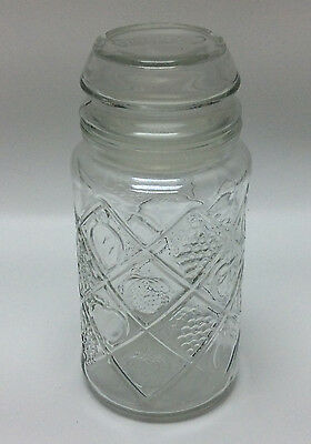 Smucker's Glass Jar With Lid - Anchor Hocking - Smuckers Canister - Fruit Design