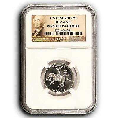 1999 S Delaware NGC PF69 Ultra Cameo Proof Silver Quarter Coin