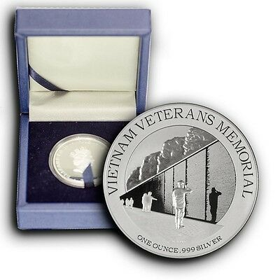2015 Vietnam Veterans Monument NIUE 1 oz Proof Silver Coin With Box & COA