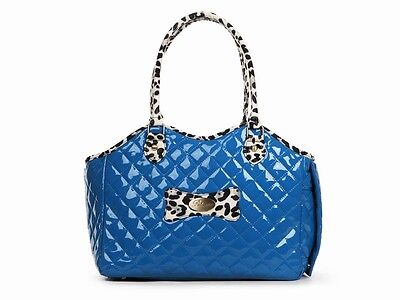 Small Dog Pet Carrier Bag Tote Handbag Blue Patent Leopard Chihuahua Yorkie Pup