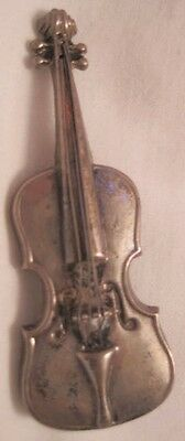 Fabulous Antique Silver Upright Bass Fiddle Pin Lang Sterling 1940s-50 V Unusual