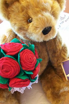 NWT Vermont Jointed Teddy Bear Rose Bouquet Valentine Gift Guaranteed For Life