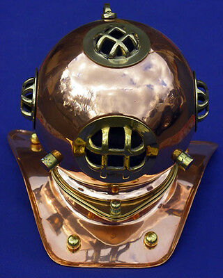 "Divers Helmet , Brass with Copper Finish, NEW Antique Reproduction, 8"" X 6"""
