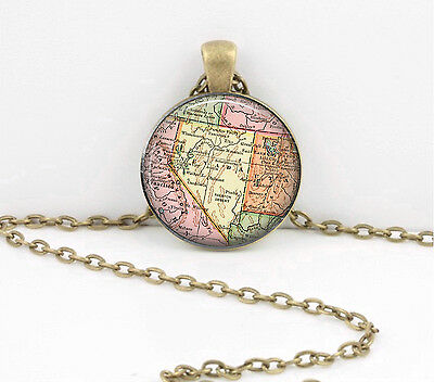 Nevada Vintage Map Pendant Necklace Jewelry or Key Ring