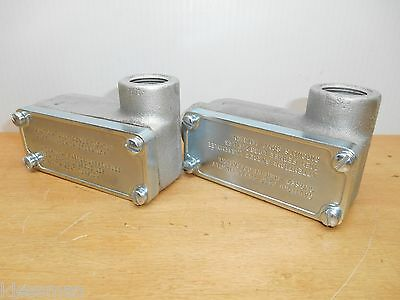 """Lot Of 2 Crouse-Hinds Oelr2 Conduit Outlet Body 3/4"""" Hub Feraloy Iron Alloy"""