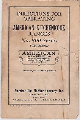 Original 1929 AMERICAN KITCHENKOOK RANGES No. 800 Series Operating Directions