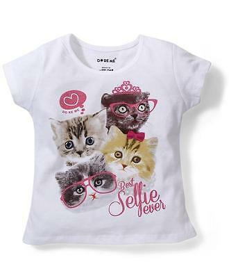 Baby Girls Size 1 ~ 8  Top/ T-shirt Cute Cat Selfie Fever Print - White - Cotton